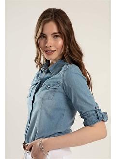 Pattaya Pattaya Kadın Çıt Çıtlı Katlanabilir Kol Kot Gömlek Y20S110-3411